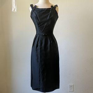 Vintage 50s black belted wiggle dress